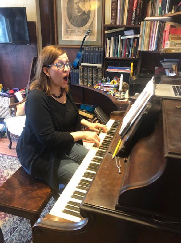 Sharon Quattrin Campagna records her first virtual lesson for her choir students at Hubbard High School.