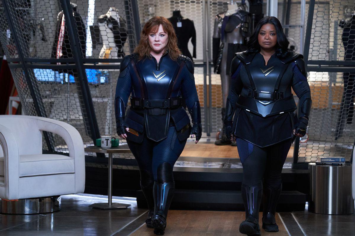 Melissa McCarthy and Octavia Spencer in black superhero getups in Thunder Force