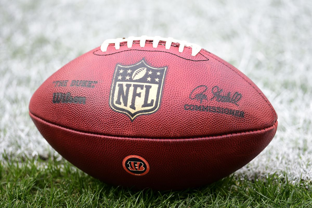 A detailed view of an official Wilson NFL football with the Cincinnati Bengals logo before a game Washington Football Team at FedExField on November 22, 2020 in Landover, Maryland.