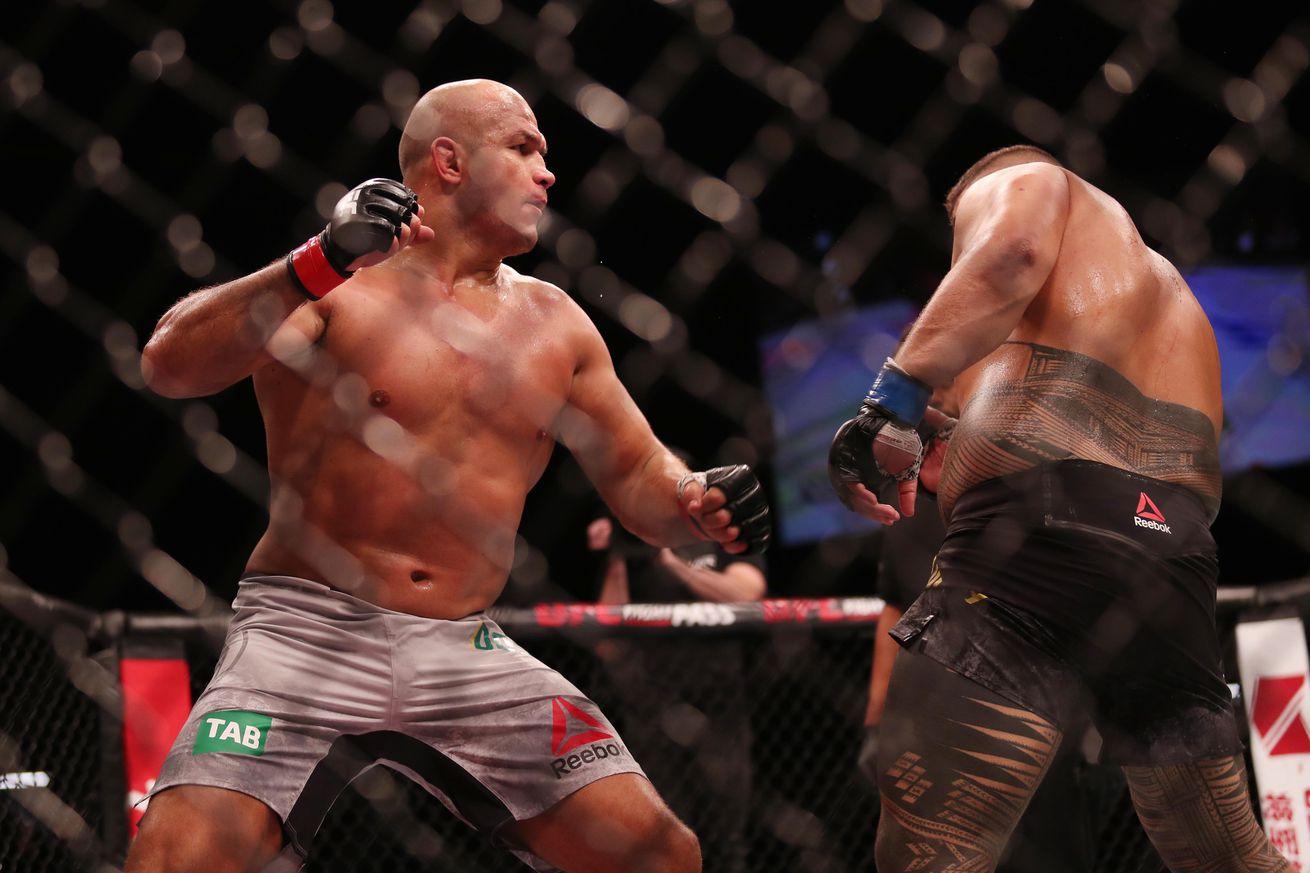 Junior dos Santos in action against Tai Tuivasa at UFC Adelaide on Saturday