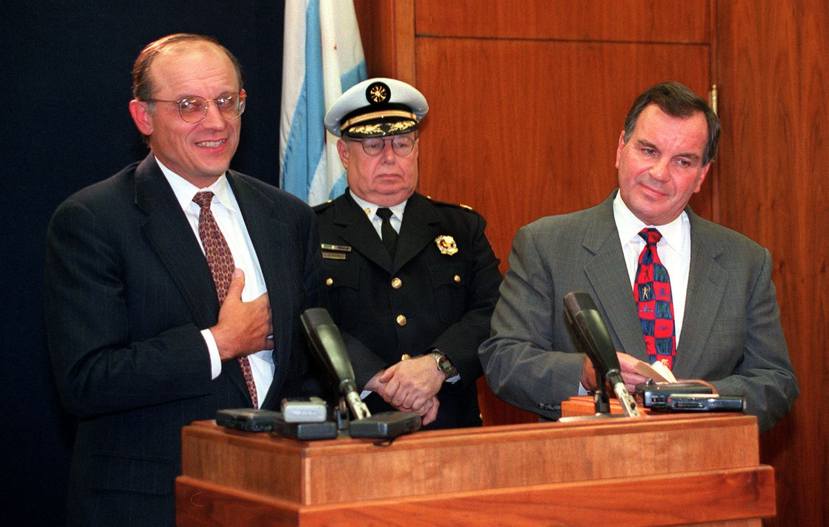 Jim Franczek, attorney Chief Labor negotiator, with Acting Fire commissioner Edward Altman and Mayor Richard Daley on Sept. 30, 1997.
