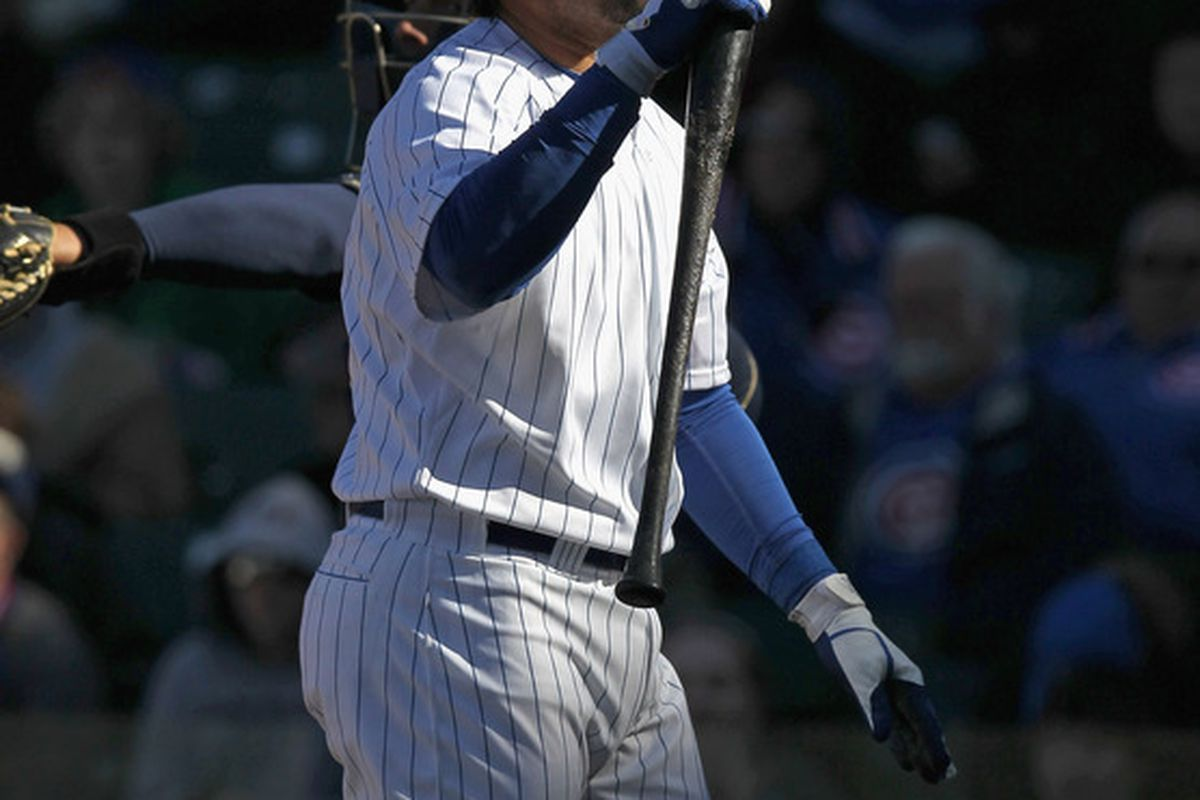 Geovany Soto of the Chicago Cubs reacts after striking out in the 9th inning against the Milwaukee Brewers at Wrigley Field in Chicago, Illinois. The Brewers defeated the Cubs 2-1. (Photo by Jonathan Daniel/Getty Images)