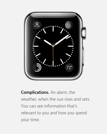 """The Apple Watch marketing for its """"complications."""""""