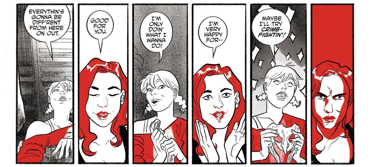 Poison Ivy is all on board for Harley Quinn's new mission to find herself without the Joker, until Harley suggests that they try crime fighting instead of crimes, in Harley Quinn Black + White + Red #7, DC Comics (2020).