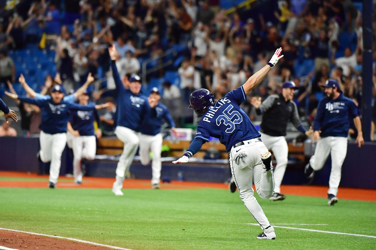 Brett Phillips #35 of the Tampa Bay Rays celebrates after hitting a 3-run home run in the 10th inning to defeat the Detroit Tigers at Tropicana Field on September 17, 2021 in St Petersburg, Florida.