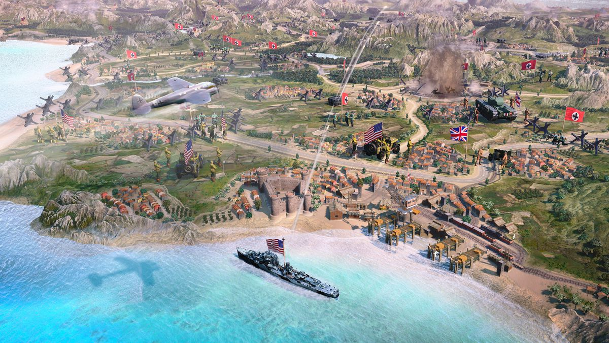 A map of the world showing a Nazi bomber attacking the coastline of Italy in Company of Heroes 3.
