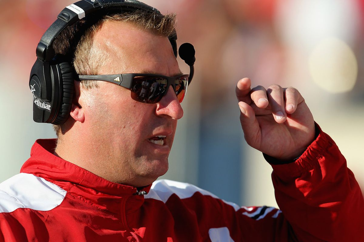 Wisconsin head coach Bret Bielema played a role in getting Garner to come to Pitt (Photo by Jonathan Daniel/Getty Images)