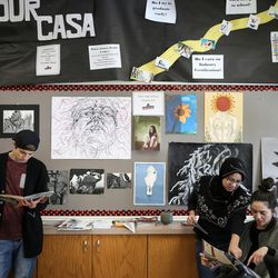 Saul Corona, 17, Myya Min, 18, and Laila Reyes, 18, hang out in the Our CASA space at West High School in Salt Lake City on Friday, Feb. 24, 2017. Our CASA spaces are part of an initiative to increase access to higher education for first-generation students and their families on Salt Lake City's west side.