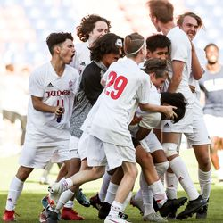 Judge Memorial celebrates their win over Morgan in the 3A boys soccer championship at Rio Tinto Stadium in Sandy on Tuesday, May 18, 2021.