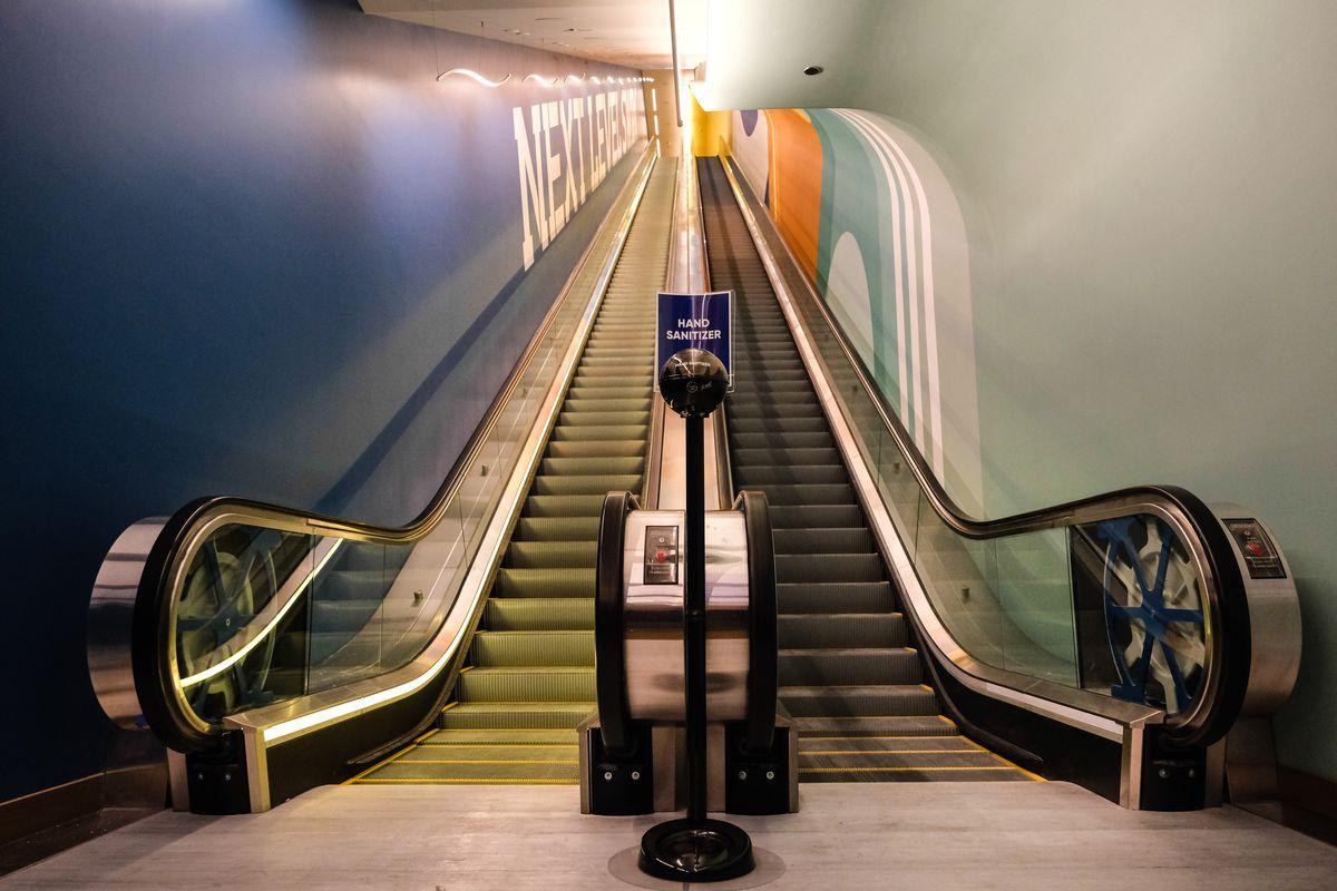 A three-story escalator
