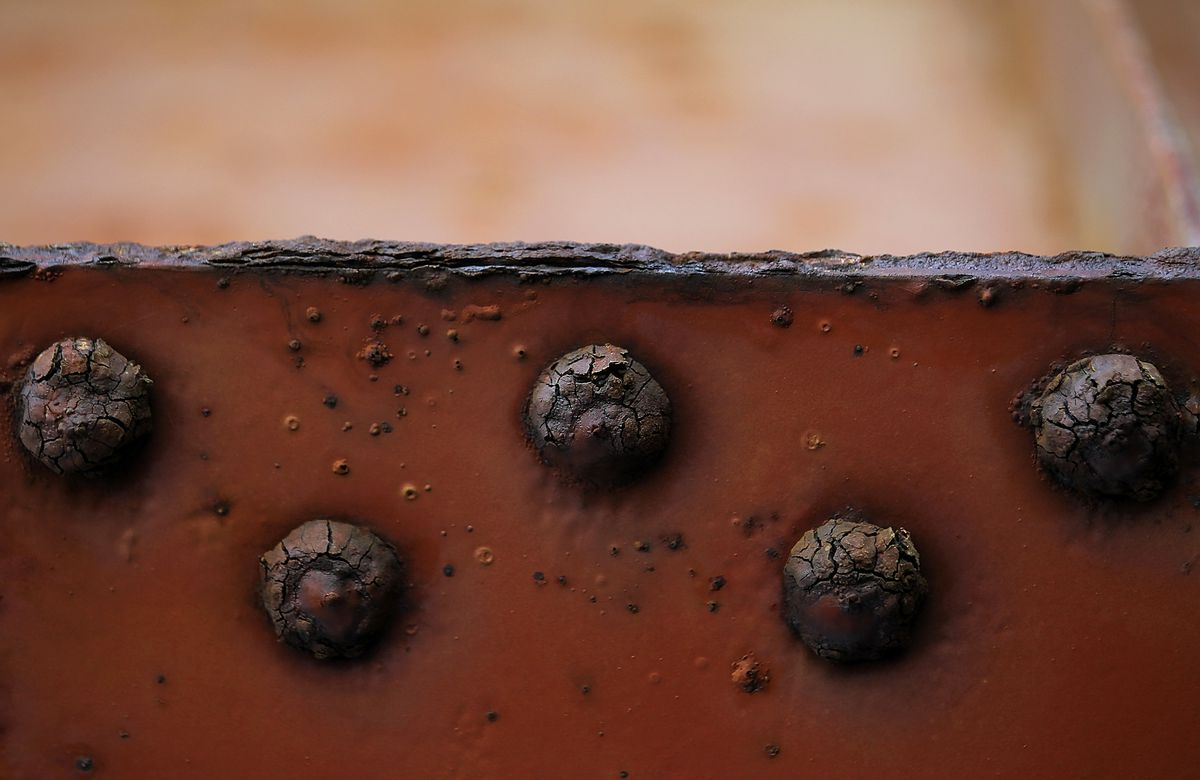 Rusted rivets are seen on the underside of the Golden Gate Bridge on May 24, 2012 in San Francisco, California.