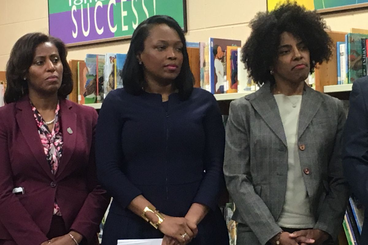 Chicago's new deputy mayor for education and human services, Sybil Madison (third from left) stands with schools CEO Janice Jackson (center) and chief academic officer LaTanya McDade at a press conference announcing her appointment June 3, 2019.