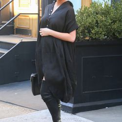 Chrissy Teigen wears Heidi braids and thigh-high boots in NYC. Photo: Fame Flynet