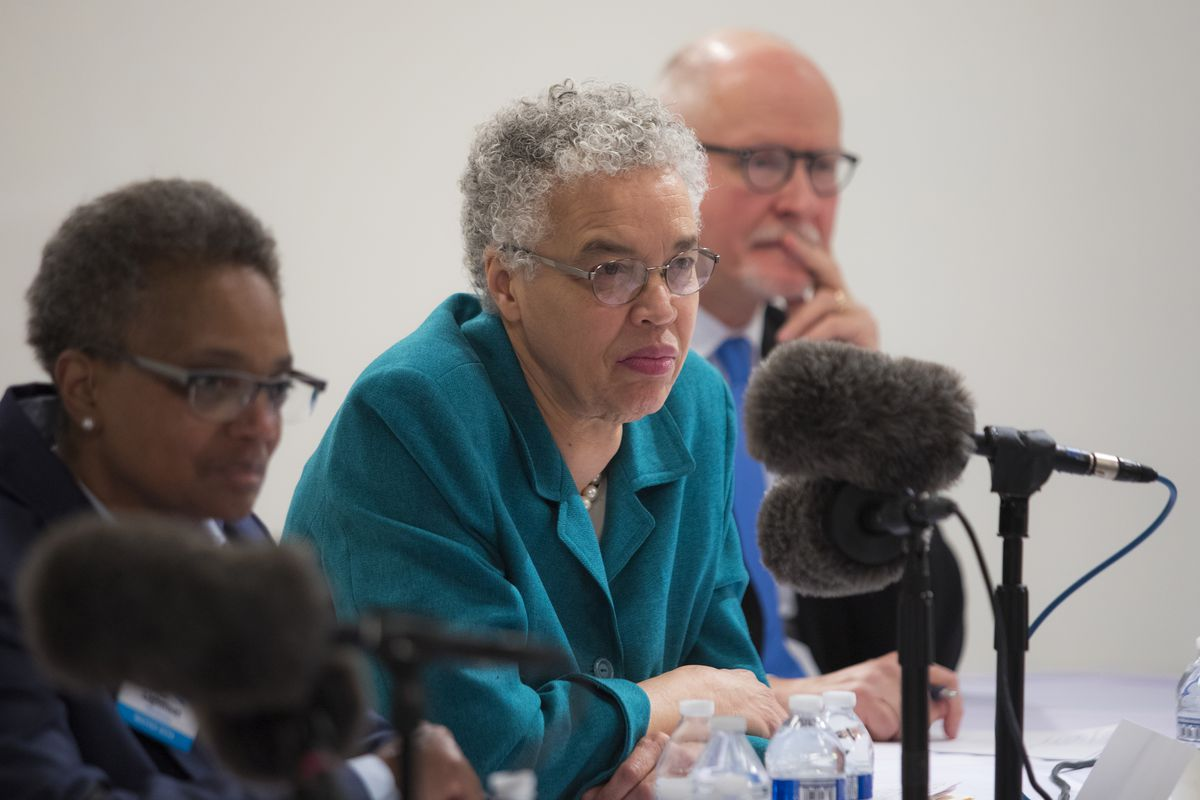 Then mayoral candidates, from left, Lori Lightfoot, Cook County Board President Toni Preckwinkle and Paul Vallas participate in a forum before the February 2019 election.