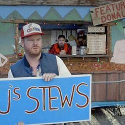 """<a href=""""http://eater.com/archives/2012/12/15/portland-food-cart-stus-stews-matt-lucas-jim-gaffigan.php"""">Watch Portlandia's Food Cart Sketch With Jim Gaffigan and Matt Lucas</a>"""