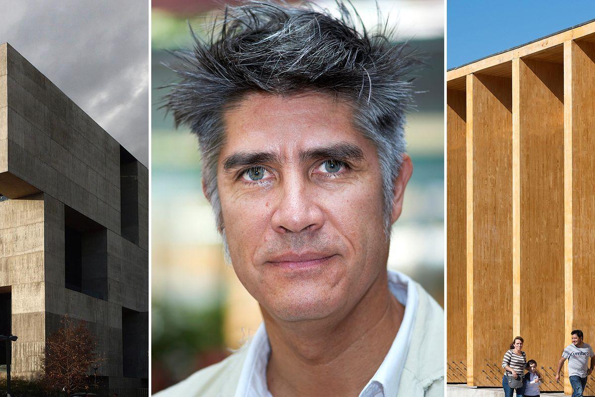 Chilean architect Alejandro Aravena, center, has won the 2016 Pritzker Prize. His UC Innovation Center at the San Joaquín Campus, Universidad Católica de Chile Santiago (left) and Constitución Cultural Center (right) from 2014, also in Chile, repres