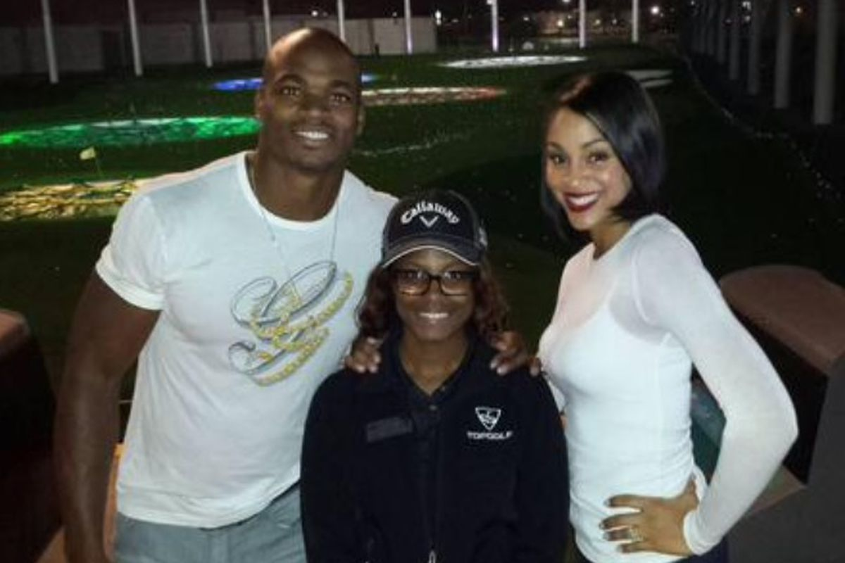 Adrian Peterson at TopGolf in Spring, Texas.