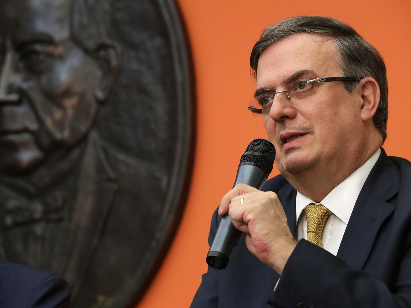 Mexican Foreign Affairs Secretary Marcelo Ebrard holds a news conference at the Mexican Embassy following talks with US Vice President Mike Pence and Secretary of State Mike Pompeo on June 5, 2019, in Washington, DC.
