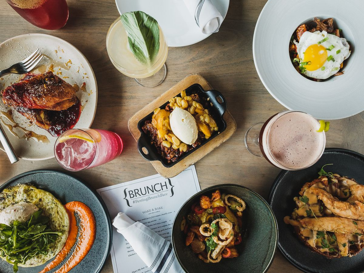An overhead view of breakfast dishes.