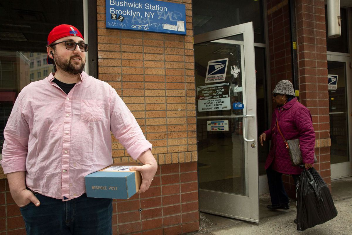 Brian Kale stands outside the Bushwick post office on Broadway and Gates Avenue, in Brooklyn, on March 15, 2019.