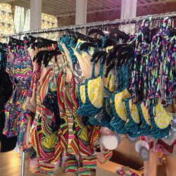 More bikinis ($30 tops and $35 bottoms!) and cut-out one-piece offerings.