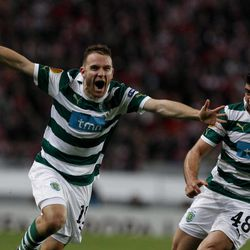 Sporting's Diego Capel, left, from Spain, celebrates with teammate Emiliano Insua, from Argentina, after scoring their team's second goal during their Europa League first leg semifinal soccer match against Athletic Bilbao  at Sporting's Alvalade stadium in Lisbon, Thursday, April 19, 2012. Capel and Insua scored once each in Sporting's 2-1 victory.