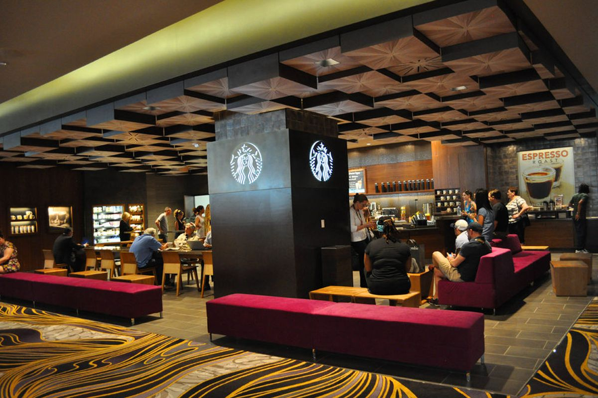 The new Starbucks on the second floor of Aria.
