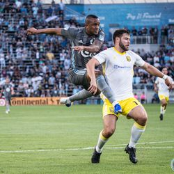July 10, 2019 - Saint Paul, Minnesota, United States - Angelo Rodriguez sends a ball into the box during the quarterfinal match of US Open Cup between Minnesota United and New Mexico United at Allianz Field.