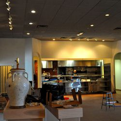 Another view of the exhibition kitchen at Honey Salt from the dining room.