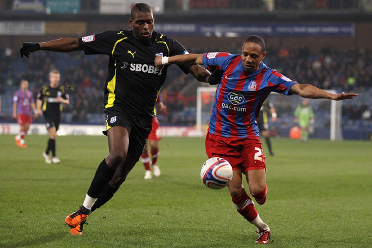 Jay Emmanuel-Thomas, at left, while on loan last season at Cardiff City.