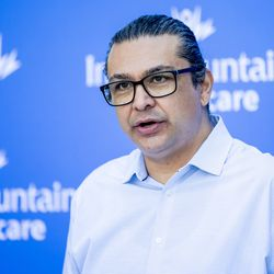 Javier Alegre, CEO of Latino Behavioral Health Services, speaks at the Intermountain Healthcare Transformation Center in Murray on Friday, July 2, 2021.