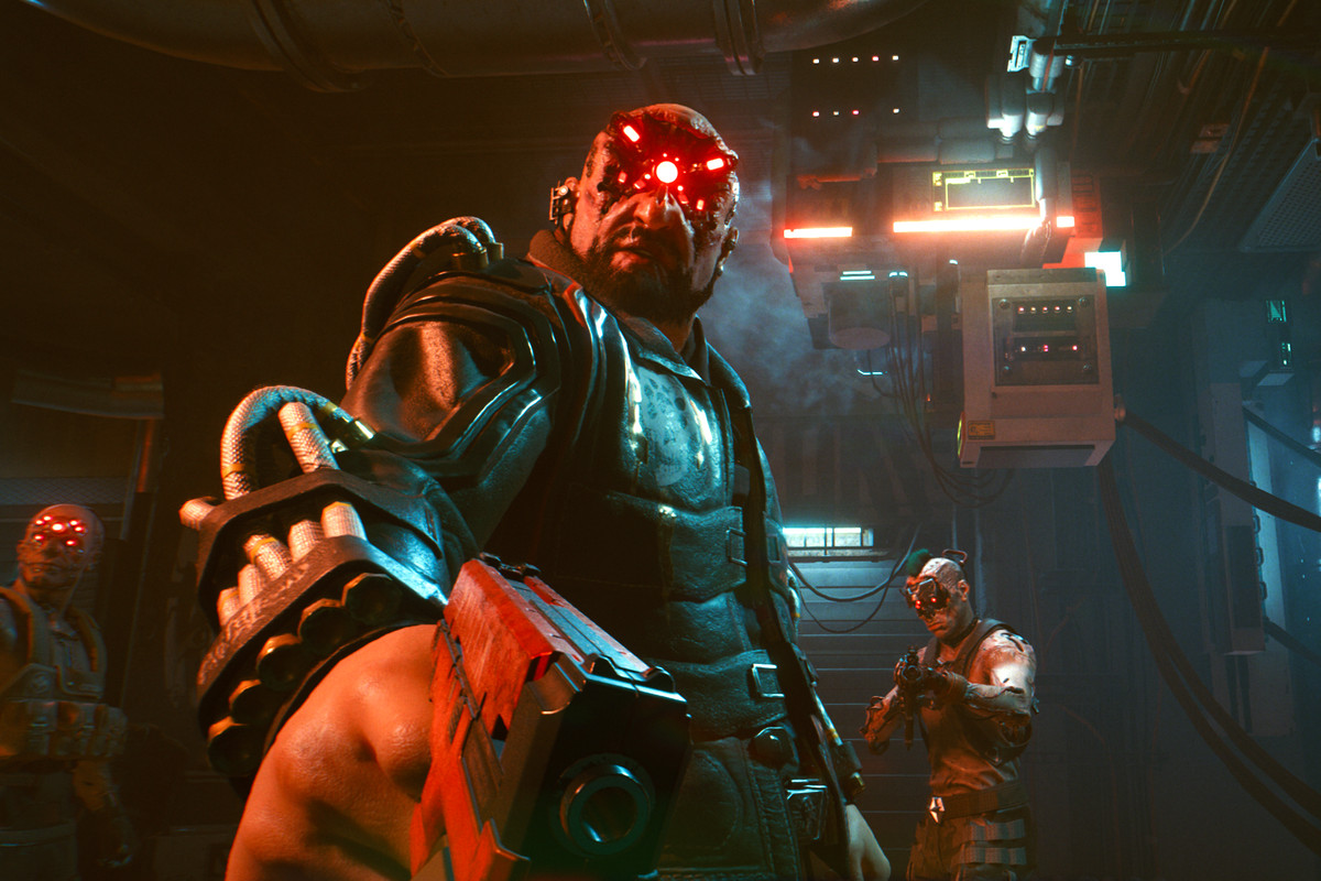 A bad guy points his gun at V, the main character in Cyberpunk 2077