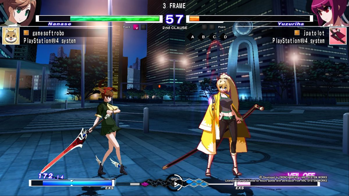 a screen from Under Night In-Birth showing a delay of three frames