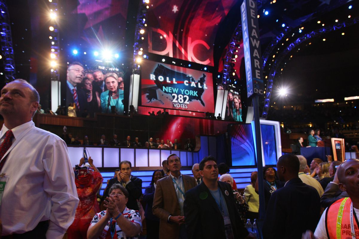 Hillary Clinton announces vote for Barack Obama at 2008 Democratic National Convention.