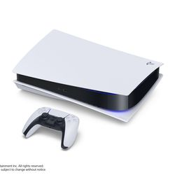 The standard PlayStation 5 — note the 4K Blu-ray Disc drive on the bottom — lying horizontally.