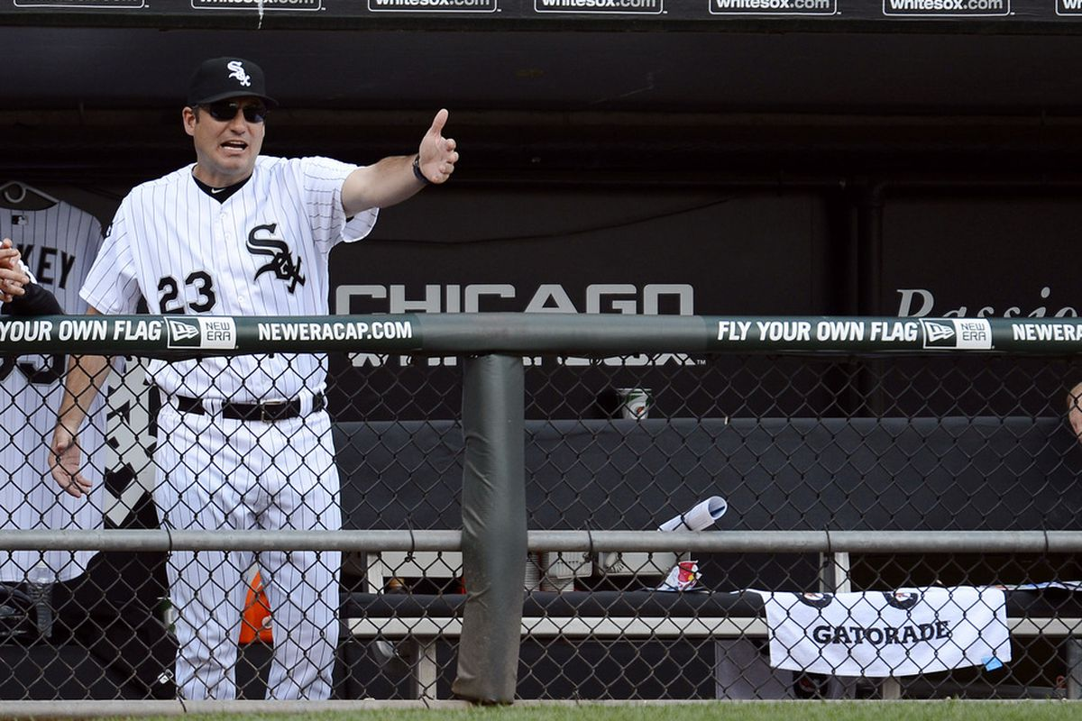Jun 02, 2012; Chicago, IL, USA; Chicago White Sox manager Robin Ventura (23) reacts after a call against the Seattle Mariners during the eighth inning at US Cellular Field.  Mandatory Credit: Mike DiNovo-US PRESSWIRE