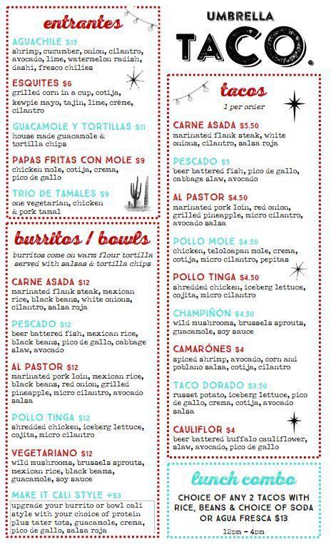 Umbrella Taco menu