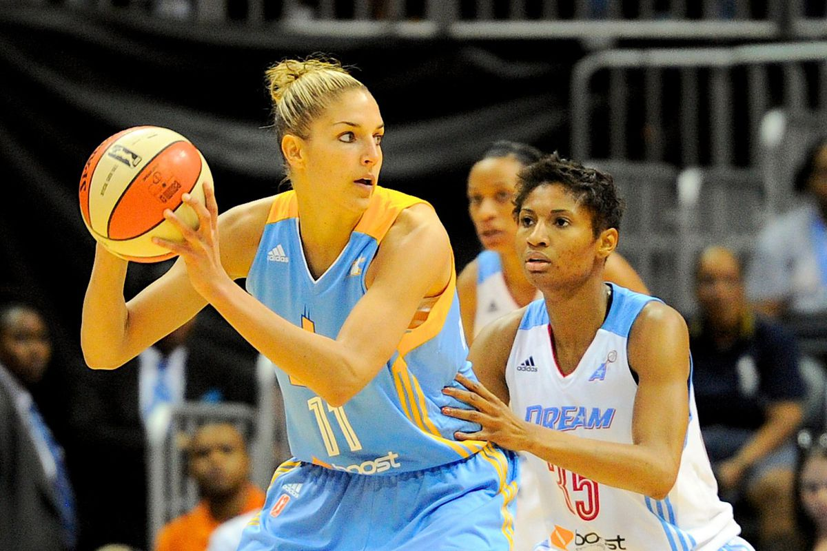 Chicago Sky forward Elena Delle Donne (L) has the most votes in this year's All Star Game in early returns.  Angel McCoughtry (R) who's getting posted up on is also doing well in early returns.