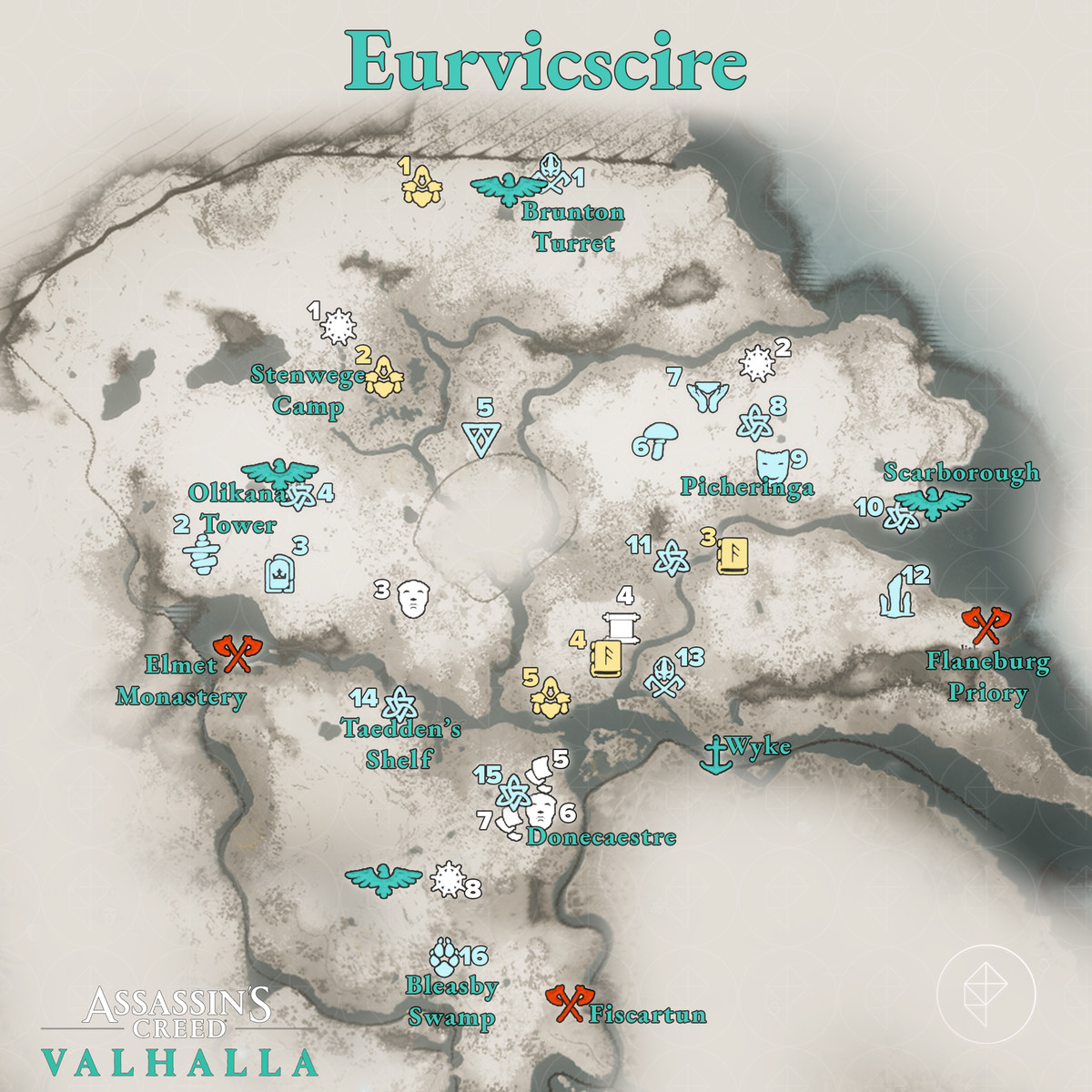 Euriviscire Wealth, Mysteries, and Artifacts locations map