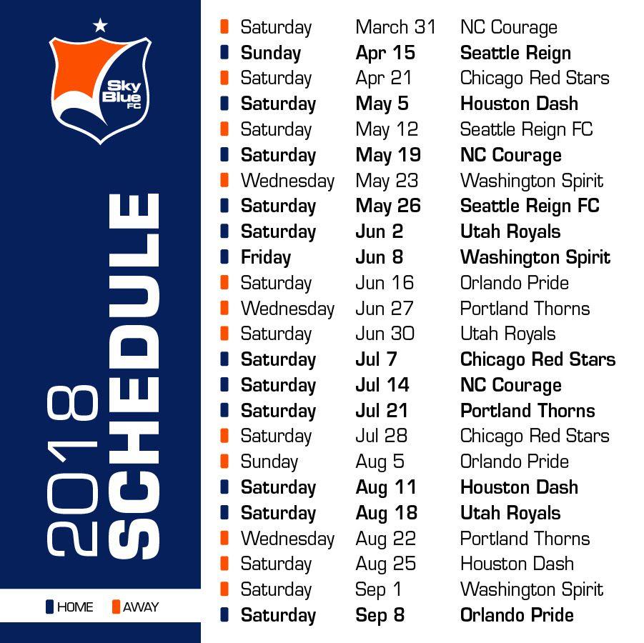 2018 Sky Blue FC schedule