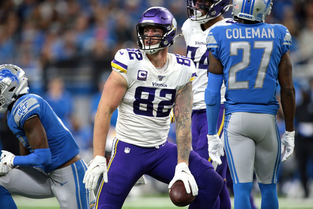 Minnesota Vikings tight end Kyle Rudolph is seen during the second half of an NFL football game against the Detroit Lions in Detroit, Michigan USA, on Sunday, October 20, 2019.