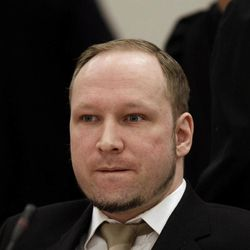 Norwegian Anders Behring Breivik appears in court to face terrorism and premeditated murder charges, Oslo, Norway, Monday, April 16, 2012. Breivik, who confessed to killing 77 people in a bomb-and-shooting massacre went on trial in Norway's capital Monday, defiantly rejecting the authority of the court.