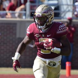 FR RB Cam Akers looks to turn the corner against the Syracuse defense.