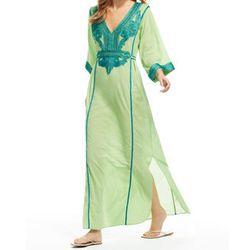 "<b>Calypso</b> Kelidra Cotton Embroidered Caftan, <a href=""http://www.calypsostbarth.com/clothing/swimwear/caftans-and-cover-ups/kelidra-cotton-embroidered-caftan"">$275</a>"