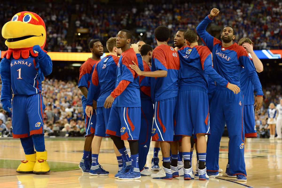 Apr 2, 2012; New Orleans, LA, USA; Kansas Jayhawks players and mascot huddle before the finals of the 2012 NCAA men's basketball Final Four against the Kentucky Wildcats at the Mercedes-Benz Superdome. Mandatory Credit: Bob Donnan-US PRESSWIRE
