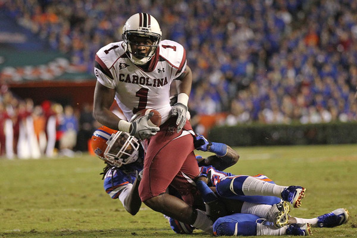 GAINESVILLE FL - NOVEMBER 13:  Alshon Jeffery #1 of the South Carolina Gamecocks rushes during a game against the Florida Gators at Ben Hill Griffin Stadium on November 13 2010 in Gainesville Florida.  (Photo by Mike Ehrmann/Getty Images)