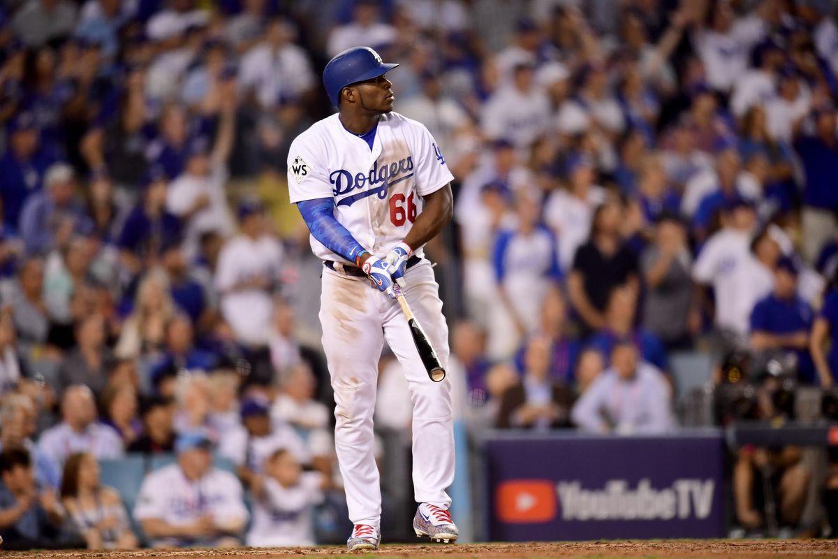 Los Angeles Dodger Yasiel Puig at bat