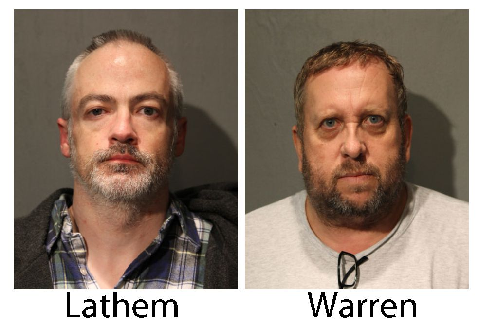 Wyndham Lathem, left, and Andrew Warren in a booking photo taken on Saturday, Aug. 19, 2017.