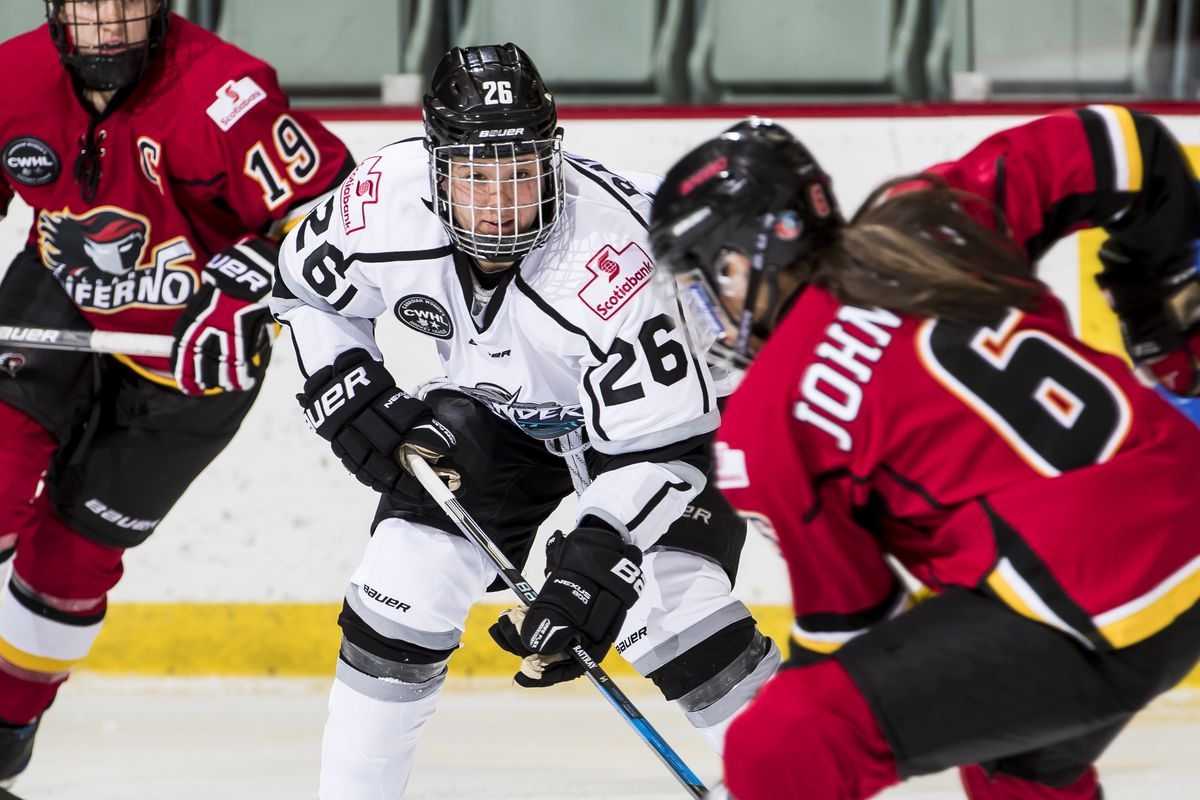 Teammates at Four Nations, Brianne Jenner (#19), Jamie Lee Rattray (#26) and Rebecca Johnston (#6) return to opposing teams this weekend
