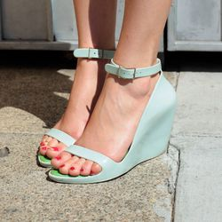 A rose hue is perfect with these powder-blue wedges.